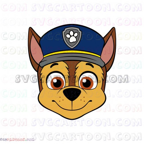 Paw patrol svg. Chase face dxf eps