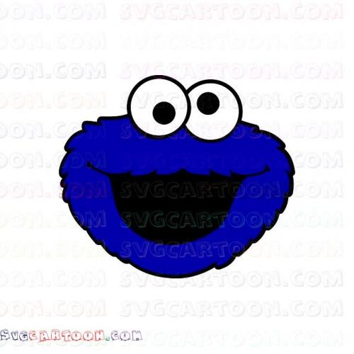 Cookie Monster Face Sesame Street Svg Dxf Eps Pdf Png