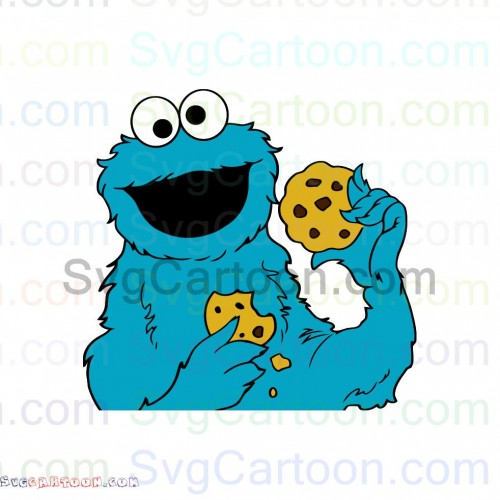 Cookie Monster With Cookies Sesame Street Svg Dxf Eps Pdf Png