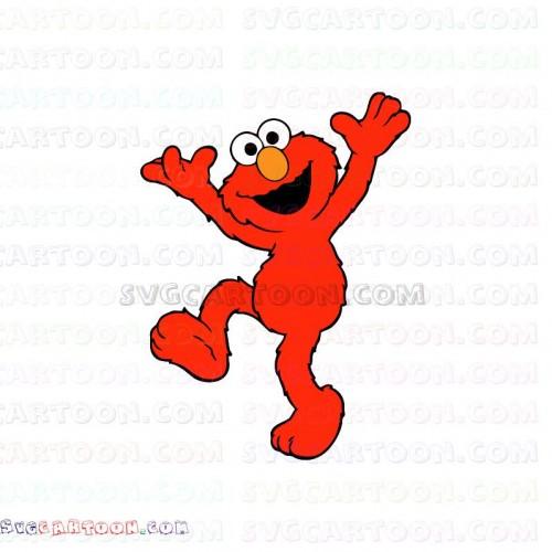 Elmo Raising His Hands And Raised His Foot Sesame Street Svg