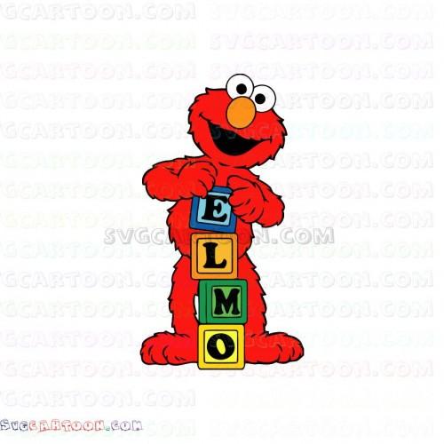 Elmo And Cubes Letters Alphabet E L M O Sesame Street Svg