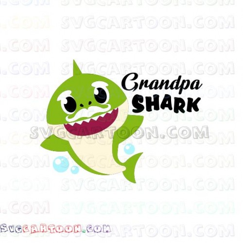 Grandpa Shark With Bubbles Shark Family Svg Dxf Eps Pdf Png
