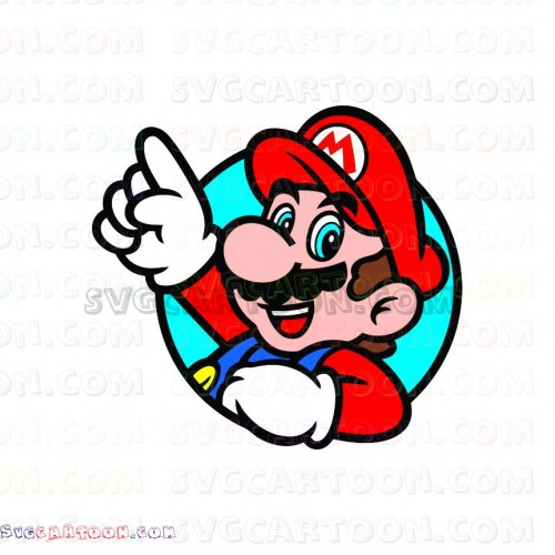 Super Mario Bros waving his hand Through a Circle svg dxf
