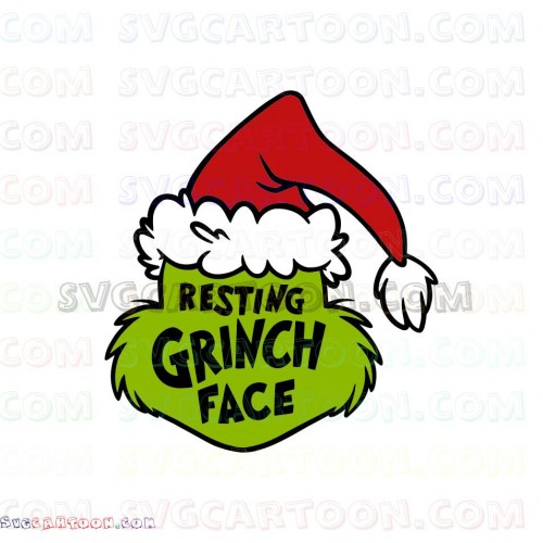 The Grinch Svg Files Resting Grinch Face Design Christmas Santa Hat Svg Dxf Eps Pdf Png